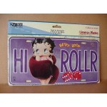 Betty Boop Metal License Plate High Roller Design