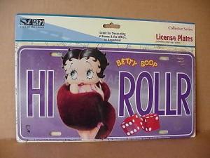 Betty Boop Metal License Plate High Roller Design