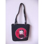 Betty Boop Pocketbook / Purse #73 Fur Stole Design Black & Red Large