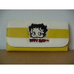 Betty Boop Tri-fold Wallet #022 Face Design Yellow & White