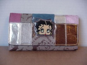 Betty Boop Tri-fold Wallet #005 Face Design Silver & Gold