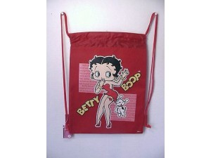 Betty Boop Book Bag / Cinch Sack 01 With Pudgy Design Red