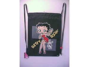 Betty Boop Book Bag / Cinch Sack 02 With Pudgy Design Black