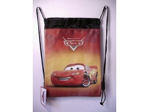 Cars Lightning Mcqueen Book Bag / Cinch Sack Red & Black #17