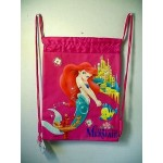 Little Mermaid Book Bag / Cinch Sack Dark Pink #04