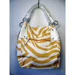 Pocketbook / Purse #24 Shoulder Bag Zebra Stripe Print Gold & White