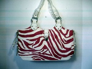 Pocketbook / Purse #28 Shoulder Bag Zebra Stripe Print Fuchsia & White