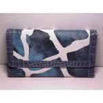 Women Wallets #09 Trifold Design Blue & White Color With Leather Trim