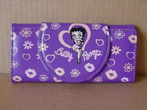 Betty Boop Tri-fold Wallet #029 Hearts & Kisses Design (Purple Color)
