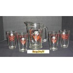 Betty Boop Shd 60oz Pitcher & 4 Ice Tea Glasses Retired