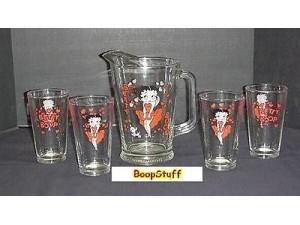 Betty Boop Shd 60oz Pitcher & 4 Ice Tea Glasses Retired