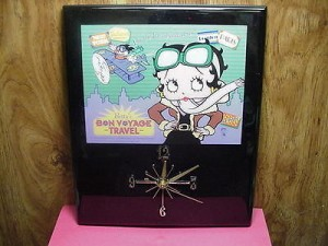 Betty Boop Plaque Wall Clock Bon Voyage Design