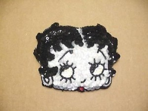 Betty Boop Coin Purse #07 Sequin Face Design Black & White