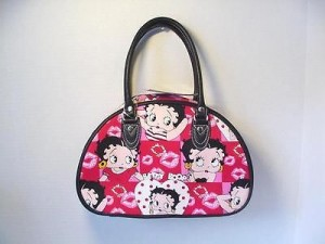 Betty Boop Pocketbook / Purse #39 Hearts Design Red & White