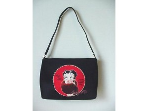 Betty Boop Pocketbook / Purse #72 Fur Stole Design Black & Red Medium