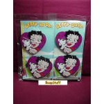 Betty Boop Coasters Chunky Funky 4 Piece Set Heart With Pudgy Design