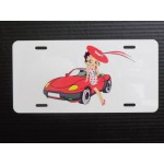 Betty Boop Metal License Plate Standing By Car Design