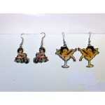 Betty Boop Earrings Lot #03 Biker And Champagne Glass Designs 2 Pairs (retired Item)