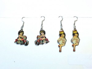 Betty Boop Earrings Lot #04 Biker And Queen Of Hearts Designs 2 Piece Set