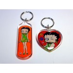 Betty Boop Key Chains Lot #20 Hippy Girl & Peace Sign Designs Two Pieces.