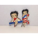 Betty Boop Magnets Lot #17 Sitting On Name & Flag Designs Two Piece Set.