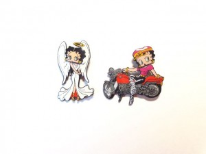 Betty Boop Pins Lot #35 Angel & Biker Bobble Head Designs Two Pieces