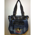 Betty Boop Pocketbook / Purse #75 Biker Heart Breaker Design Denim