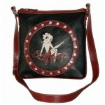 Betty Boop Pocketbook / Purse #81 Cross Body Messenger Bag Leg Up Design Black With Red Ring