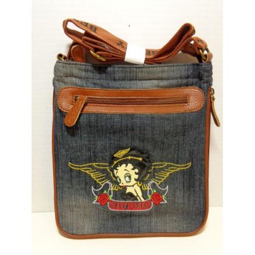 55f27f987f64 Betty Boop Pocketbook   Purse  78 Messenger Bag Heart Breaker Design Denim
