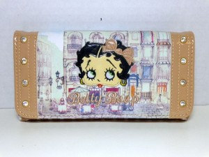 Betty Boop Tri-fold Wallet #047 Bow Design Beige.