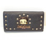 Betty Boop Tri-fold Wallet #058 Face Design Black