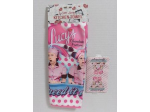 I Love Lucy Kitchen Towel Chocolate Factory Design Polka Dot