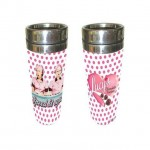 Betty Boop Tumbler Double Insulated - Chocolate Factory Design - White With Pink Polka Dots