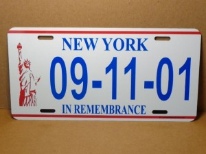 License Plate New York 09-11-01 In Remembrance Design