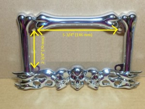 Motorcycle License Plate Frame Skulls Design