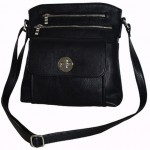 Pocketbook / Purse #33 Messenger Bag Leatherette Design Black