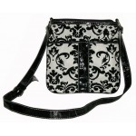 Pocketbook / Purse #45 Messenger Bag Floral Print Design Black Velvet