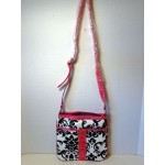 Pocketbook / Purse #46 Messenger Bag Floral Print Design Pink Velvet