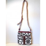 Pocketbook / Purse #47 Messenger Bag Floral Print Design Red Velvet