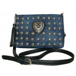 Pocketbook / Purse #48 Cross Body Bag With Studs Design Denim And Black