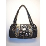 Pocketbook / Purse #50 Barrel Purse With Rhinestones Design Black