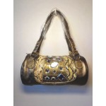 Pocketbook / Purse #51 Barrel Purse With Rhinestones Design Pewter