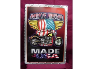 American Heritage Tin Sign Made In The USA Design
