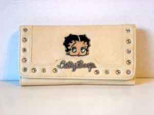 Betty Boop Tri-fold Wallet #034 Face Design Beige