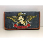 Betty Boop Tri-fold Wallet #041 Biker Heart Breaker Design Denim Black