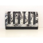 Women Wallets #23 Tri-fold Rhinestone & Stripes Design Black