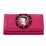 Betty Boop Tri-fold Wallet #055 Kiss Design Hot Pink
