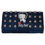 Betty Boop Tri-fold Wallet #056 Kiss Design Denim