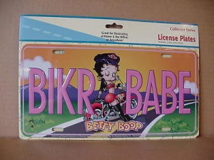 Betty Boop Metal License Plate Biker Babe Design