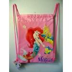 Little Mermaid Book Bag / Cinch Sack Light Pink #03